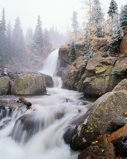 Alberta Falls on Glacier Creek, afternoon storm creates frost in the forest, Rocky Mountain National Park, Colorado, USA