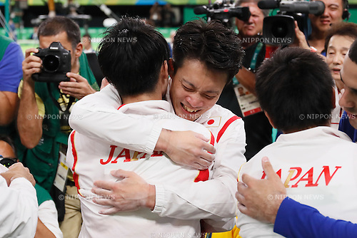 Japan team group (JPN), <br /> AUGUST 8, 2016 - Artistic Gymnastics : <br /> Men's Final  <br /> Floor Exercise <br /> at Rio Olympic Arena <br /> during the Rio 2016 Olympic Games in Rio de Janeiro, Brazil. <br /> (Photo by Sho Tamura/AFLO SPORT)