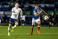 Garry Thompson of Wycombe Wanderers and Enda Stevens of Portsmouth during the FA Cup 1st round match between Portsmouth and Wycombe Wanderers at Fratton Park, Portsmouth, England on the 5th November 2016. Photo by Liam McAvoy.
