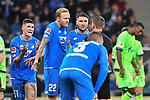 01.12.2018, wirsol Rhein-Neckar-Arena, Sinsheim, GER, 1 FBL, TSG 1899 Hoffenheim vs FC Schalke 04, <br /> <br /> DFL REGULATIONS PROHIBIT ANY USE OF PHOTOGRAPHS AS IMAGE SEQUENCES AND/OR QUASI-VIDEO.<br /> <br /> im Bild: Steven Zuber (TSG Hoffenheim #17), Kevin Vogt (TSG Hoffenheim #22) und Ermin Bicakcic (TSG Hoffenheim #4) diskutiert mit Schiedsrichter Dr. Robert Kampka<br /> <br /> Foto &copy; nordphoto / Fabisch
