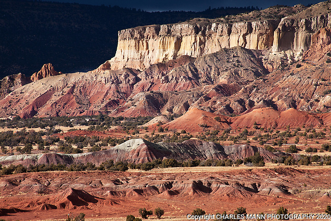A stormy winter day at Ghost Ranch near the village of Abiquiu in northern New Mexico can make the red and tan sandstone cliffs there look especially dramatic.