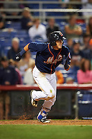 Binghamton Mets shortstop Gavin Cecchini (2) runs to first during a game against the Trenton Thunder on August 8, 2015 at NYSEG Stadium in Binghamton, New York.  Trenton defeated Binghamton 4-2.  (Mike Janes/Four Seam Images)