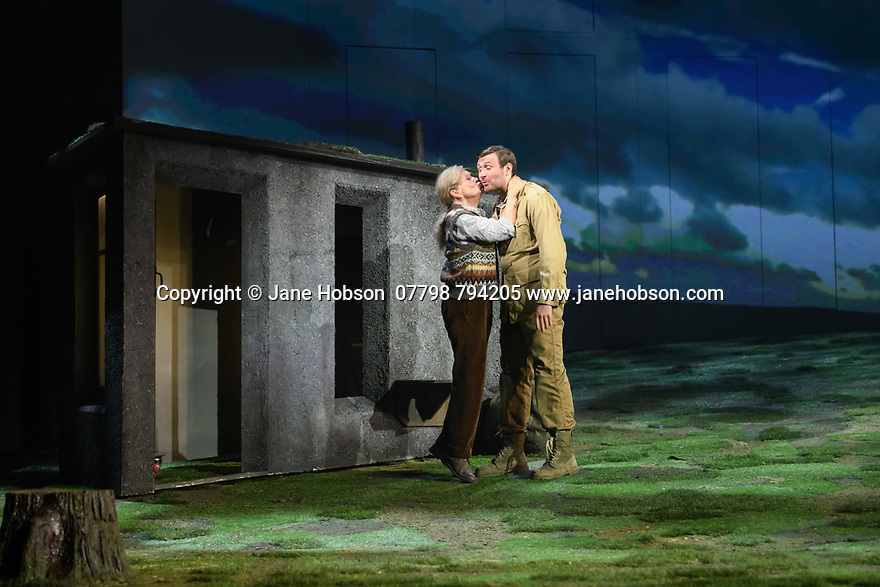 """Edinburgh, UK. 01.08.2019. The National Theatre of Great Britain presents """"Peter Gynt"""", by David Hare, directed by Jonathan Kent, at the Festival Theatre, as part of the Edinburgh International Festival. Picture shows: Ann Louise Ross (Agatha), James McArdle (Peter Gynt). Photograph © Jane Hobson."""