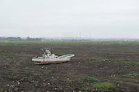 Landscape view of a damaged boat in a field following the 311 Tohoku Tsunami in Ishinomaki, Japan  © LAN