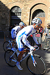 Christopher Williams (AUS) Team Novo Nordisk makes his way to sign on before the start of the 2015 Strade Bianche Eroica Pro cycle race 200km over the white gravel roads from San Gimignano to Siena, Tuscany, Italy. 7th March 2015<br /> Photo: Eoin Clarke www.newsfile.ie