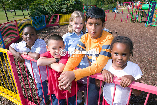 Group of young friends out in the park together,