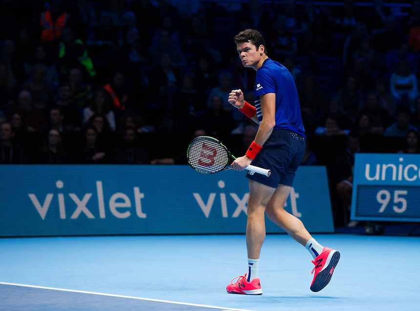 Milos Raonic of Canada celebrates during his victory over Dominic Thiem of Austria in their Group Ivan Lendl match today - Milos Raonic def Dominic Thiem 7-6 (7-5), 6-3<br /> <br /> Photographer Ashley Western/CameraSport<br /> <br /> International Tennis - Barclays ATP World Tour Finals - Day 5 - Thursday 17th November 2016 - O2 Arena - London<br /> <br /> World Copyright &copy; 2016 CameraSport. All rights reserved. 43 Linden Ave. Countesthorpe. Leicester. England. LE8 5PG - Tel: +44 (0) 116 277 4147 - admin@camerasport.com - www.camerasport.com