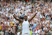 Cori Gauff (USA) celebrates after winning her match against Polona Hercog (SLO) in their Ladies' Singles Third Round match<br /> <br /> Photographer Rob Newell/CameraSport<br /> <br /> Wimbledon Lawn Tennis Championships - Day 5 - Friday 5th July 2019 -  All England Lawn Tennis and Croquet Club - Wimbledon - London - England<br /> <br /> World Copyright © 2019 CameraSport. All rights reserved. 43 Linden Ave. Countesthorpe. Leicester. England. LE8 5PG - Tel: +44 (0) 116 277 4147 - admin@camerasport.com - www.camerasport.com