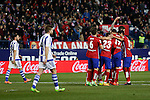 Atletico de Madrid´s players celebrate Antoine Griezmann´s goal during 2015-16 La Liga match between Atletico de Madrid and Real Sociedad at Vicente Calderon stadium in Madrid, Spain. March 01, 2016. (ALTERPHOTOS/Victor Blanco)