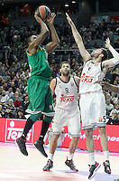 Real Madrid's Rudy Fernandez (r) and Panathinaikos Athens' DeMarcus Nelson during Euroleague match.January 22,2015. (ALTERPHOTOS/Acero) /NortePhoto<br />
