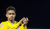 Paris Cowan-Hall of Wycombe Wanderers applauds the supporters during the Sky Bet League 2 match between Dagenham and Redbridge and Wycombe Wanderers at the London Borough of Barking and Dagenham Stadium, London, England on 9 February 2016. Photo by Andy Rowland.