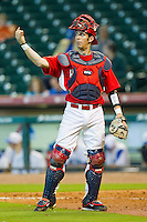 Catcher John Cannon #37 of the Houston Cougars lets the defense know there are two outs against the Kentucky Wildcats at Minute Maid Park on March 5, 2011 in Houston, Texas.  Photo by Brian Westerholt / Four Seam Images