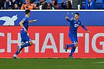 15.02.2020, PreZero-Arena, Sinsheim, GER, 1. FBL, TSG 1899 Hoffenheim vs. VFL Wolfsburg, <br /> <br /> DFL REGULATIONS PROHIBIT ANY USE OF PHOTOGRAPHS AS IMAGE SEQUENCES AND/OR QUASI-VIDEO.<br /> <br /> im Bild: Christoph Baumgartner (TSG Hoffenheim #14) jubelt mit Andrej Kramaric (TSG Hoffenheim #27) ueber das Tor zum 1:1<br /> <br /> Foto © nordphoto / Fabisch