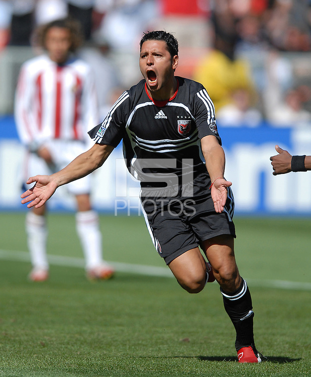 DC United midfielder Christian Gomez (10) celebrates after scoring the first goal of the game in the 48th minute. DC United defeated Chivas USA 2-1, at RFK Stadium in Washington DC, Sunday May 6, 2007.