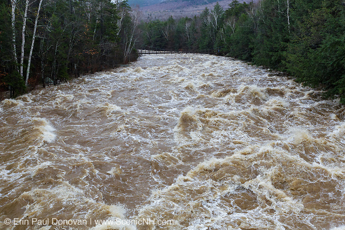 The East Branch of the Pemigewasset River near the Lincoln Woods Trailhead along Route 112 in Lincoln, New Hampshire on October 30, 2017 after hours of heavy rain and strong winds.