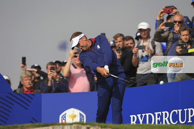 Ian Poulter (Team Europe) on the 3rd tee during the Friday Foursomes at the Ryder Cup, Le Golf National, Ile-de-France, France. 28/09/2018.<br /> Picture Thos Caffrey / Golffile.ie<br /> <br /> All photo usage must carry mandatory copyright credit (© Golffile | Thos Caffrey)