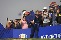 Ian Poulter (Team Europe) on the 3rd tee during the Friday Foursomes at the Ryder Cup, Le Golf National, Ile-de-France, France. 28/09/2018.<br /> Picture Thos Caffrey / Golffile.ie<br /> <br /> All photo usage must carry mandatory copyright credit (&copy; Golffile | Thos Caffrey)