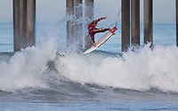 Huntington Beach, CA - Thursday August 03, 2017: Jesse Mendes during a World Surf League (WSL) Qualifying Series (QS) second round heat in the 2017 Vans US Open of Surfing on the South side of the Huntington Beach pier.