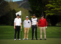 From left, Liam Hislop, Robert Stewart, Ryan Chsinall and Andrew Harcourt. 2017 Asia-Pacific Amateur Championship Media and Partner Golf Day at Royal Wellington Golf Club in Wellington, New Zealand on Monday, 16 October 2017. Photo: Dave Lintott / lintottphoto.co.nz