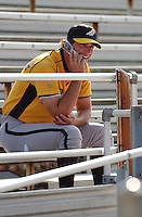 Outfielder Jeff Francoeur of the Myrtle Beach Pelicans, Class A affiliate of the Atlanta Braves, talks on a cell phone before a game at Pfitzner Stadium, Woodbridge, Va., May 14, 2004. (Tom Priddy/Four Seam Images)