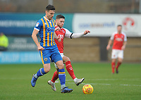 Shrewsbury Town's Matthew Sadler under pressure from Fleetwood Town's Wes Burns<br /> <br /> Photographer Kevin Barnes/CameraSport<br /> <br /> The EFL Sky Bet League One - Shrewsbury Town v Fleetwood Town - Tuesday 1st January 2019 - New Meadow - Shrewsbury<br /> <br /> World Copyright © 2019 CameraSport. All rights reserved. 43 Linden Ave. Countesthorpe. Leicester. England. LE8 5PG - Tel: +44 (0) 116 277 4147 - admin@camerasport.com - www.camerasport.com