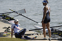 Reading, GREAT BRITAIN, Athletes from the W8+, waiting on the boating dock, right, Vicki ETIEBET, GB Rowing 2007 FISA World Cup Team Announcement, at the GB Training centre, Caversham, England on Thur. 26.04.2007  [Photo, Peter Spurrier/Intersport-images]..... , Rowing course: GB Rowing Training Complex, Redgrave Pinsent Lake, Caversham, Reading