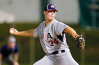 Andrew Mitchell #34 (Texas Christian) of the USA Baseball Collegiate National Team in action against the Gastonia Grizzlies at Sims Legion Park on June 30, 2011 in Gastonia, North Carolina.  Team USA defeated the Grizzlies 12-5.  Brian Westerholt / Four Seam Images