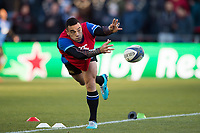 Kahn Fotuali'i of Bath Rugby passes the ball during the pre-match warm-up. European Rugby Champions Cup match, between RC Toulon and Bath Rugby on December 9, 2017 at the Stade Mayol in Toulon, France. Photo by: Patrick Khachfe / Onside Images