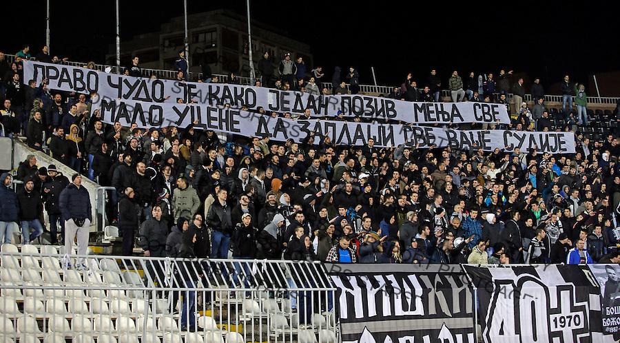 Navijaci grobari jug  JSL Jelen super liga Srbije Partizan - Rad 14.3.2015.  Beograd, Srbija March 12.2015.  (credit image & photo: Pedja Milosavljevic / STARSPORT)