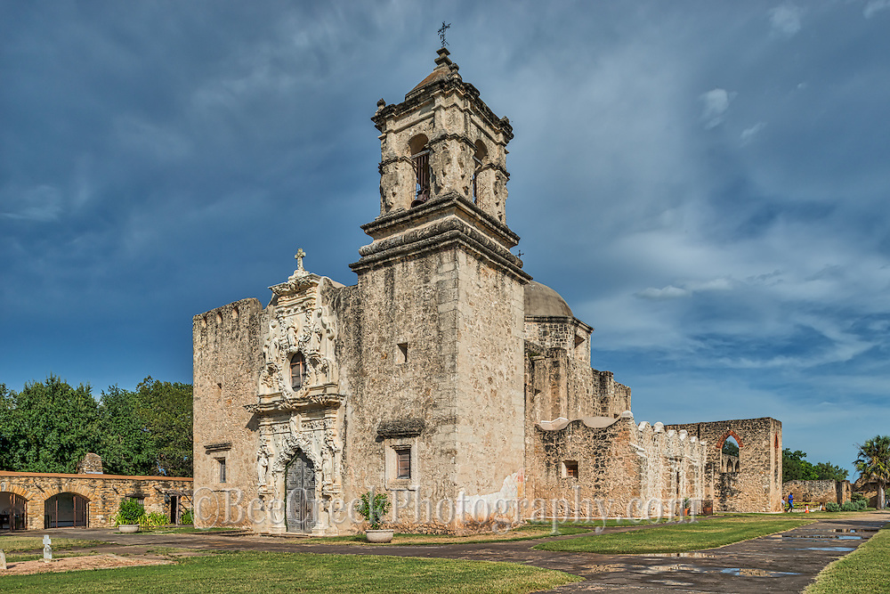Stormy Sky over Mission San Jose - We captured this of the historic Mission San José y San Miguel de Aguayo a Catholic mission in San Antonio, Texas, United States. This one of the many mission built back in the 1700s that have been well preserved and or still functioning as a church today. This historic landmark was a spanish mission community which was design to convert the indians of the area to the catholic religion.  These missions are now part of the world heritage site, along with the San Antonio Missions National historic Park.  These mission are visited by  many tourist and they have become a travel destination for many who visit San Antonio. Watermark will not appear on image