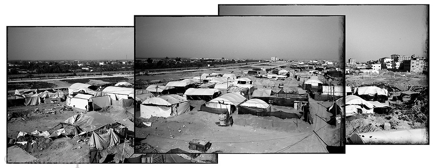 Location: Egypt-Gaza border, Rafah, Gaza..A view of the tent city that has sprung up along the Rafah-Egypt border as dozens of 'entrepreneur's have sunk tens of thousands of dollars into tunnel systems...The tunnels have become the only means of essential commodities and supplies into Gaza, particularly since the start of the Israeli embargo.