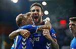 24.11.2018 Rangers v Livingston: Connor Goldson and Scott Arfield after the last goal