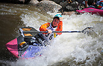 June 8, 2017 - Vail, Colorado, U.S. - New Zealand paddler, Courtney Kerin, celebrates her qualifying performance on Gore Creek in the Freestyle Kayak competition during the GoPro Mountain Games, Vail, Colorado.  Adventure athletes from around the world meet in Vail, Colorado, June 8-11, for America's largest celebration of mountain sports, music, and lifestyle.