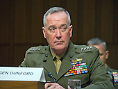 """General Joseph F. Dunford, Jr., USMC, Chairman of The Joint Chiefs of Staff gives testimony before the United States Senate Committee on Armed Services during the hearing on """"Counter-ISIL (Islamic State of Iraq and the Levant) Operations and Middle East Strategy"""" on Capitol Hill in Washington, DC on Thursday, April 28, 2016.<br /> Credit: Ron Sachs / CNP"""