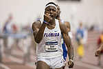 COLLEGE STATION, TX - MARCH 11: Grant Holloway of Florida celebrates after his win in the 60 meter hurdles during the Division I Men's and Women's Indoor Track & Field Championship held at the Gilliam Indoor Track Stadium on the Texas A&M University campus on March 11, 2017 in College Station, Texas. (Photo by Michael Starghill/NCAA Photos/NCAA Photos via Getty Images)