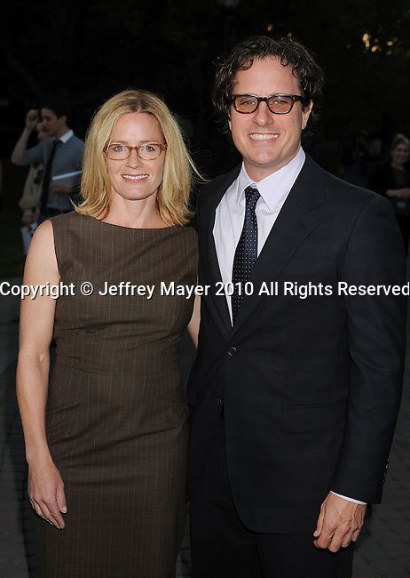 """HOLLYWOOD, CA. - September 20: Elisabeth Shue and Director Davis Guggenheim arrive at the Los Angeles premiere of Waiting for """"Superman"""" at Paramount Pictures Studio on September 20, 2010 in Hollywood, California."""