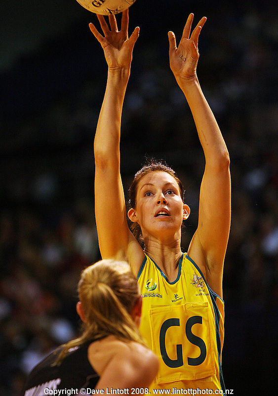 Kate Beveridge shoots past Casey Williams during the New World International Netball Series match between the New Zealand Silver Ferns and Australia at Westpac Arena, Christchurch, New Zealand on Wednesday, 17 September 2008. Photo: Dave Lintott / lintottphoto.co.nz