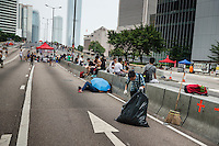 Hong Kong, Government Offices, 2 October 2014<br /> <br /> Students and other supporters of the Occupy Central movement congregating around the government offices area at Tamar. All the roads in the area are blocked from traffic and public transport.<br /> The occupied area is kept very clean, even at the fifth day.<br /> <br /> Photo Kees Metselaar