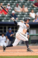 NW Arkansas Naturals shortstop Logan Davis (4) at bat during a game against the Corpus Christi Hooks on May 26, 2014 at Arvest Ballpark in Springdale, Arkansas.  NW Arkansas defeated Corpus Christi 5-3.  (Mike Janes/Four Seam Images)