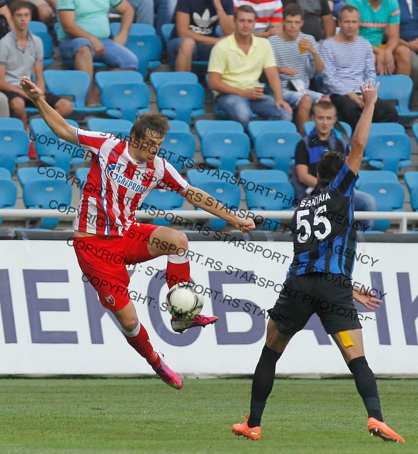 Fudbal UEFA Europa League season 2013-2014<br /> Cernomorec Vs. Crvena Zvezda<br /> Nejc Pecnik and  Anderson Mineiro<br /> Odessa, 02.08.2013.<br /> foto: Srdjan Stevanovic/Starsportphoto &copy;