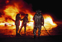Airport fire crews training at Point Mugu Naval Air Station, California