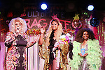 Sweetie, LaToya Fruitpunch and Grenadine Ross during a performance of 'Ultimate Drag Off', the zaniest, live theatrical interactive game-show where audience members vote and crown the next drag superstar, at Triad Theatre on October 2, 2015 in New York City.