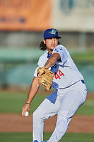 Elio Serrano (44) of the Ogden Raptors delivers a pitch to the plate against the Missoula Osprey at Lindquist Field on July 12, 2018 in Ogden, Utah. Missoula defeated Ogden 11-4. (Stephen Smith/Four Seam Images)