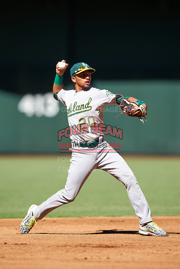 Oakland Athletics Yerdel Vargas (20) during an Instructional League game against the Arizona Diamondbacks on October 15, 2016 at Chase Field in Phoenix, Arizona.  (Mike Janes/Four Seam Images)