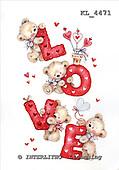Interlitho, VALENTINE, VALENTIN, paintings+++++,4 bears,hearts,KL4471,#v#,love stickers ,everyday