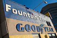 GoodYear logo is pictured on a Fountain Tire store in Winnipeg Wednesday May 25, 2011. The Goodyear Tire & Rubber Company manufactures tires for automobiles, commercial trucks, light trucks, SUVs, race cars, airplanes, and heavy earth-mover machinery.