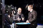 Stockholm 2014-11-16 Ishockey Hockeyallsvenskan AIK - IF Bj&ouml;rkl&ouml;ven :  <br /> Viasat Sports expert Erik Granqvist och programledare Niklas Jihde i TV-studion inf&ouml;r matchen mellan AIK och IF Bj&ouml;rkl&ouml;ven <br /> (Foto: Kenta J&ouml;nsson) Nyckelord:  AIK Gnaget Hockeyallsvenskan Allsvenskan Hovet Johanneshov Isstadion Bj&ouml;rkl&ouml;ven L&ouml;ven IFB TV Viasat TV-studio