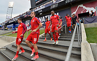 Commerce City, CO - Thursday June 08, 2017: Paul Arriola, Jordan Morris, Kellyn Acosta and Darlington Nagbe during their 2018 FIFA World Cup Qualifying Final Round match versus Trinidad & Tobago at Dick's Sporting Goods Park.