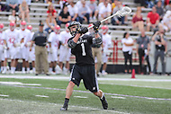 College Park, MD - May 14, 2017: Bryant Bulldogs Tucker James (1) scores a goal during the NCAA first round game between Bryant and Maryland at  Capital One Field at Maryland Stadium in College Park, MD.  (Photo by Elliott Brown/Media Images International)