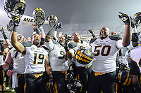 Missouri players Shaun Rupert (19), Nick Coffman (90), .Rickey Hatley (95) and .Evan Winston (50) celebrated at the conclusion of an NCAA football game, Saturday, November 15, 2014 in College Station, Tex. Missouri defeated Texas A&M 34-27. (Mo Khursheed/TFV Media via AP Images)